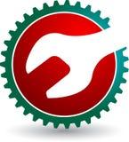 Insignia de la llave del engranaje ilustración del vector