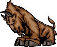 Insignia de la mascota del búfalo stock de ilustración