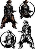 Insignia de la mascota del vaquero ilustración del vector