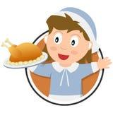 Insignia de la muchacha del peregrino de la acción de gracias stock de ilustración