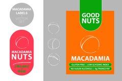 Insignia de la nuez de macadamia con el texto: gluten libre, índice glycemic bajo, ningunos alcoholes de azúcar, grasa del trance ilustración del vector