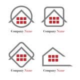 Insignia de las propiedades inmobiliarias - rojo y gris