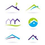 Insignia de las propiedades inmobiliarias y vector de los iconos - púrpura Foto de archivo