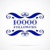 Insignia de los seguidores del vector 10000 sobre blanco Imágenes de archivo libres de regalías