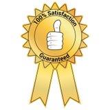 Insignia de oro garantizada satisfacción stock de ilustración