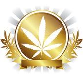Insignia de oro de la hoja de la marijuana del cáñamo libre illustration