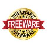 Insignia de oro de la medalla de la moneda de la web de la ronda roja del Freeware stock de ilustración