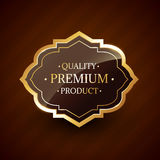 Insignia de oro superior de la etiqueta del diseño de producto de la calidad Foto de archivo