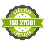 Insignia del certificado del estándar del ISO 27001 - mana de la seguridad de información Foto de archivo libre de regalías