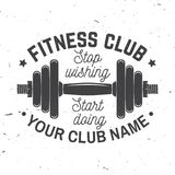 Insignia del club de fitness Pare el desear de hacer del comienzo Ilustración del vector Imagenes de archivo
