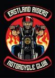Insignia del club de la motocicleta de la motocicleta del paseo del viejo hombre stock de ilustración