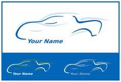 Insignia del coche en azul Fotografía de archivo libre de regalías