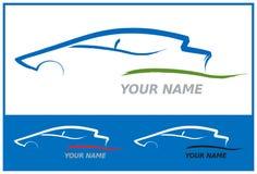 Insignia del coche en azul y verde Imagen de archivo
