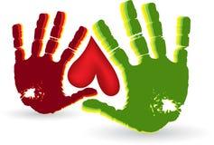 Insignia del corazón de dos manos ilustración del vector