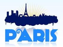 Insignia del diseño del horizonte de París ilustración del vector