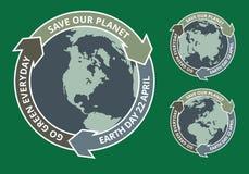 Insignia del grunge del Día de la Tierra Imagen de archivo