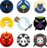 Insignia del monstruo de Halloween/sistema clásicos del emblema Foto de archivo libre de regalías