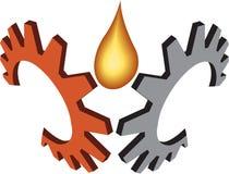 Insignia del petróleo del engranaje ilustración del vector