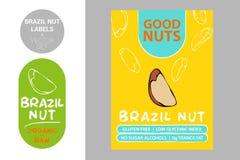 Insignia del producto de la nuez de Brasil con el texto: gluten libre, índice glycemic bajo, ningunos alcoholes de azúcar, grasa  stock de ilustración