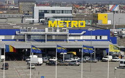Insignia del supermercado de Cash&Carry del metro Fotografía de archivo