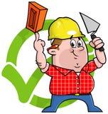 Insignia del trabajador de construcción de la historieta Imagen de archivo libre de regalías