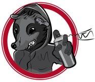 Insignia del vector con la pintada de la rata del hombre Fotos de archivo libres de regalías