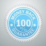 Insignia del vector de la garantía del reembolso del dinero stock de ilustración