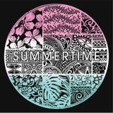 Insignia del verano con adornos hawaianos Fotografía de archivo libre de regalías