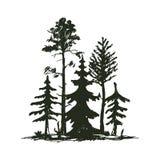 Insignia del viaje del árbol de la silueta al aire libre del negro, cedro de la rama de la picea del pino de los tops y extracto  stock de ilustración