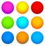 9 insignia en blanco brillante, forma del starburst Fotografía de archivo