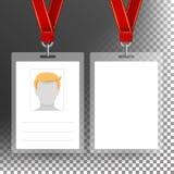 Insignia en blanco con la cinta, Lanyard Vector Plantilla del carné de identidad transparente Fotos de archivo