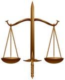 Insignia, escala y espada de la corte Imágenes de archivo libres de regalías