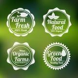 Insignia, etiqueta y etiqueta engomada para la tienda de alimentos Imagenes de archivo