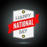 Insignia feliz del día nacional con la cinta libre illustration