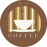 Insignia/icono del café de la escritura de la etiqueta foto de archivo