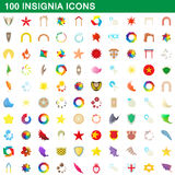 100 insignia icons set, cartoon style. 100 insignia icons set in cartoon style for any design vector illustration Royalty Free Stock Photo