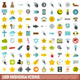 100 insignia icons set, flat style Stock Photos