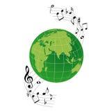 Insignia la tierra y las notas musicales Imagenes de archivo