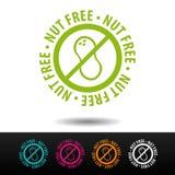 Insignia libre de la nuez, logotipo, icono Ejemplo plano en el fondo blanco Puede ser la empresa de negocios usada Imagen de archivo libre de regalías