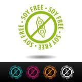 Insignia libre de la soja, logotipo, icono Ejemplo plano en el fondo blanco Puede ser la empresa de negocios usada Fotos de archivo libres de regalías