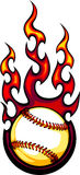 Insignia llameante de la bola del béisbol o del beísbol con pelota blanda Fotos de archivo libres de regalías