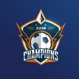 Insignia Logo Design Templates del fútbol del fútbol   Deporte Team Identity Vector Illustrations aislado en el fondo blanco ilustración del vector