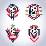 Insignia Logo Design Templates del fútbol del fútbol   Deporte Team Identity Vector Illustrations aislado en fondo azul stock de ilustración