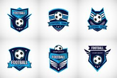 Insignia Logo Design Templates del f?tbol del f?tbol   Deporte Team Identity Vector Illustrations aislado en fondo azul libre illustration