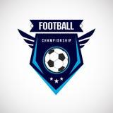 Insignia Logo Design Templates del f?tbol del f?tbol   Deporte Team Identity Vector Illustrations aislado en fondo azul ilustración del vector
