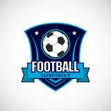 Insignia Logo Design Templates del f?tbol del f?tbol   Deporte Team Identity Vector Illustrations aislado en fondo azul stock de ilustración