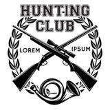 Insignia monocromática del vector de los deportes con el arma y el cuerno de la señal para un club de caza Imagenes de archivo