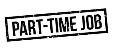 Insignia negra del sello del grunge cuadrado del trabajo a tiempo parcial stock de ilustración
