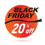 Insignia negra roja de la venta de viernes ilustración del vector