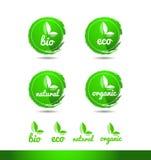 Insignia orgánica natural del icono del logotipo del grunge del bio eco ilustración del vector